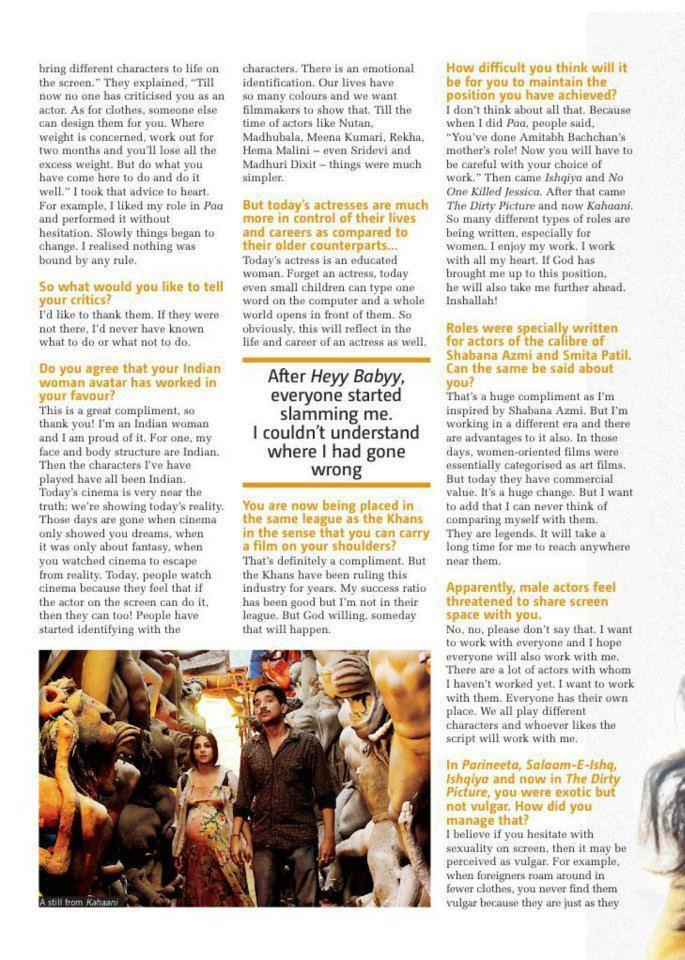 Vidya Balan In Filmfare Magazine