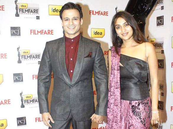 Vivek Oberoi and Priyanka Alva arrive at the 57th Idea Filmfare Awards