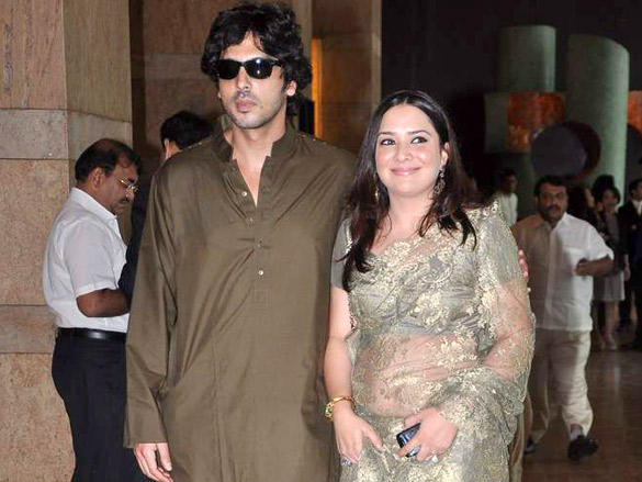 Zayed Khan with wife at Honey and Dheeraj Deshmukh wedding reception