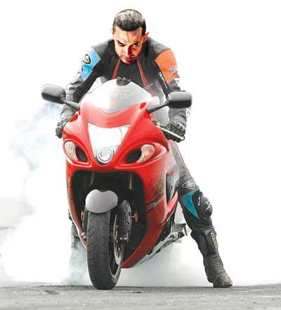 Aamir on Bike