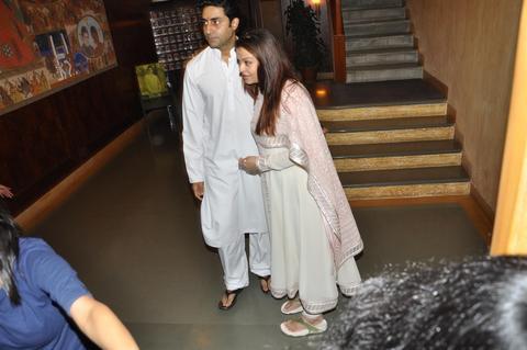 Abhishek and Aishwarya Rai Bachchan at their home on 22 Nov 2011