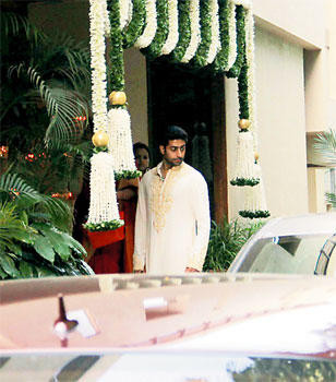 Abhishek Bachchan at his wife's baby shower function