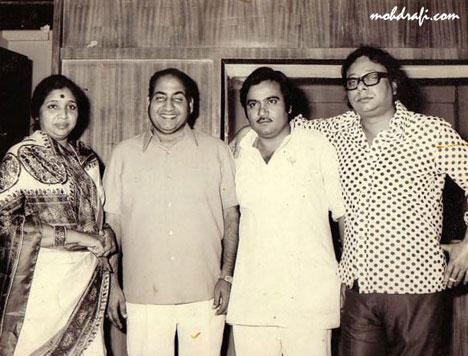 Asha Bhonsle with Mommad Rafi and RD Burman