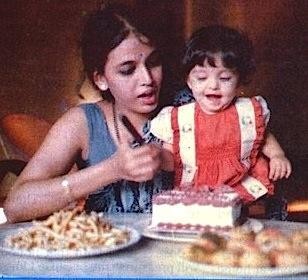 Baby Aishwarya Rai And Mom Having Fun With Cake