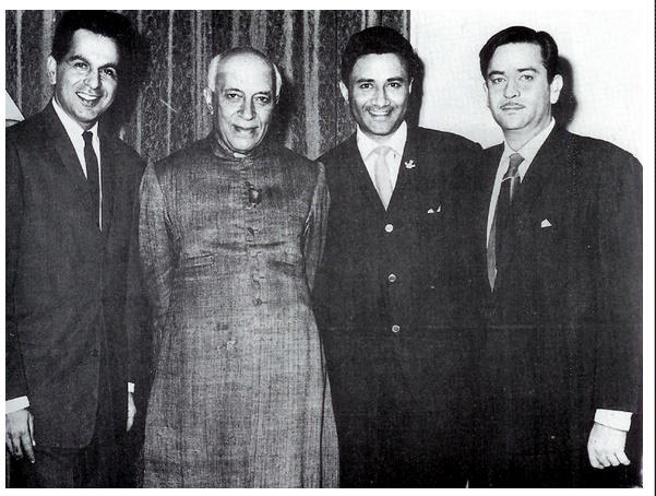 Nehru with Dilip Kumar, Dev Anand and Raj Kapoor in 1958
