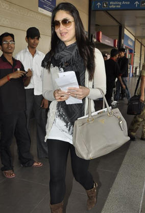 Kareena at Dubai airport for Ra One premier