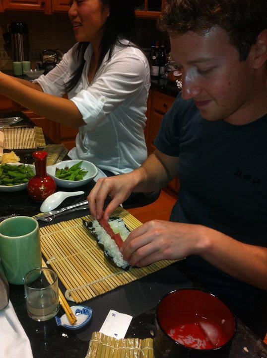 Mark Zuckerberg and girlfriend Priscilla Chan preparing dinner