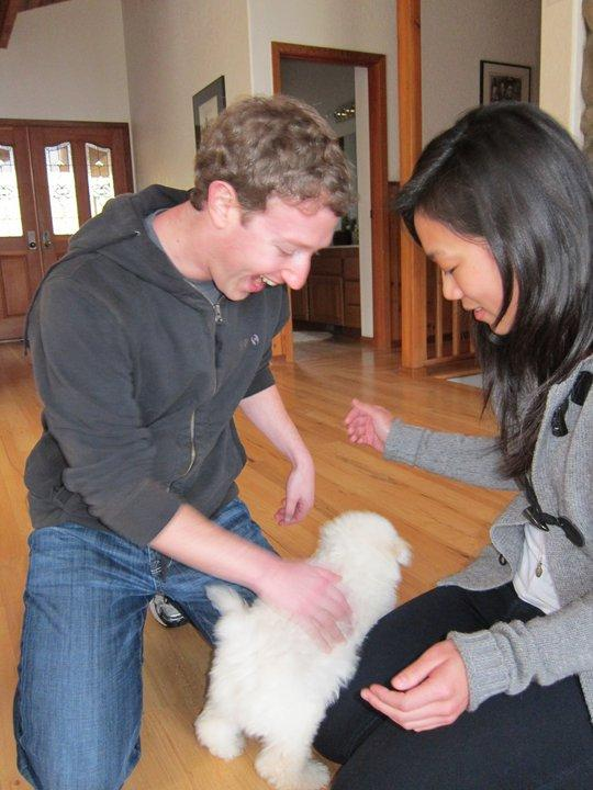 Mark Zuckerberg and Priscilla Chan playing with their pet