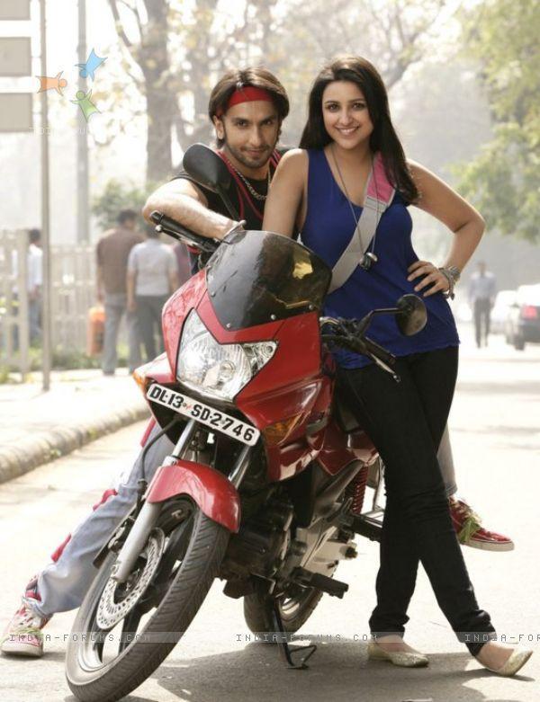 Ranveer Singh and Parineeti Chopra on a Bike Ride