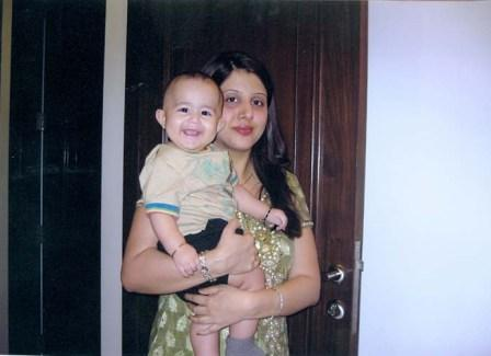 Virender Sehwag's wife with Son