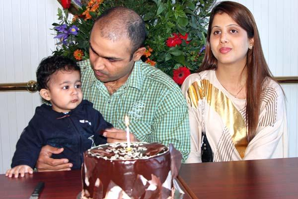Virender Sehwag with Wife Arti and-Son