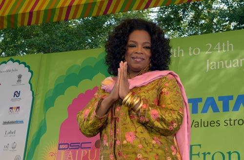 Oprah Greeting The Crowds in Jaipur