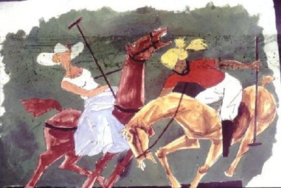 Woman and Sardar at Polo