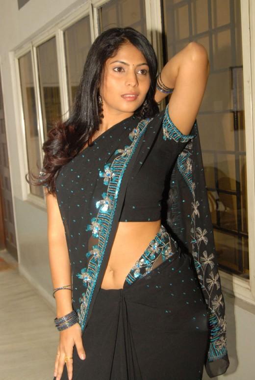 Telugu Heroine Saira Banu Black Saree Still Telugu Actress Saira