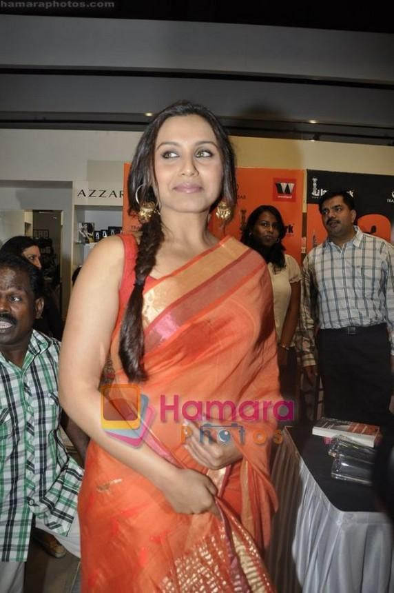 Rani Mukherjee in beautiful orange designer cotton saree