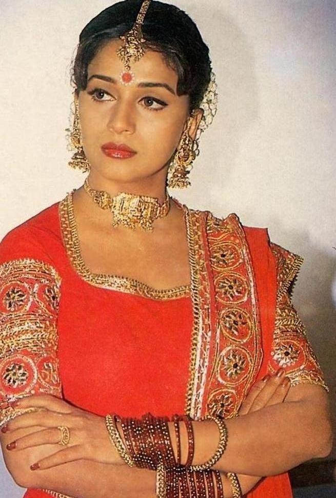 Madhuri Dixit Hot Pose In Red Color Dress Madhuri Dixit Latest