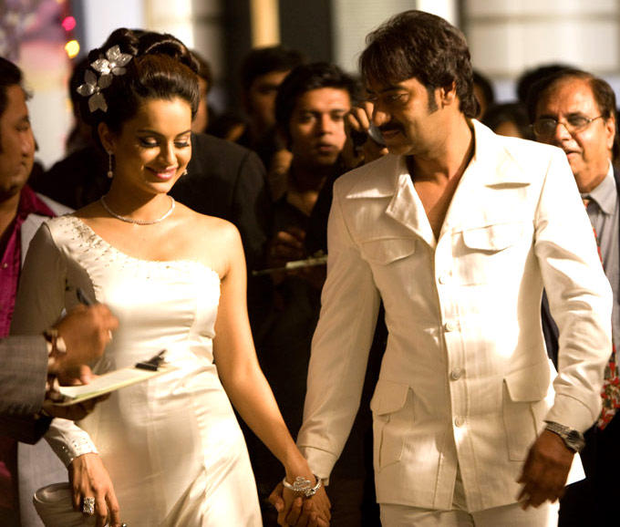 Kangna and Ajay Devgan, Once Upon A Time in Mumbaai, White