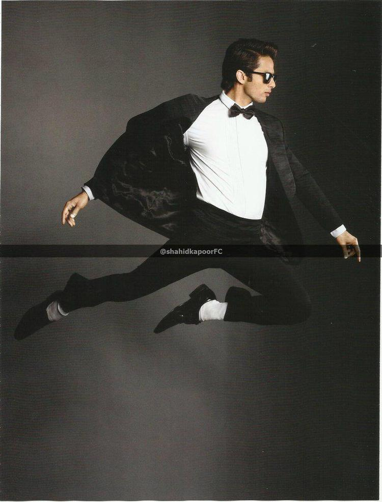 Shahid In Black Suit Flying Photoshoot For GQ Magazine October