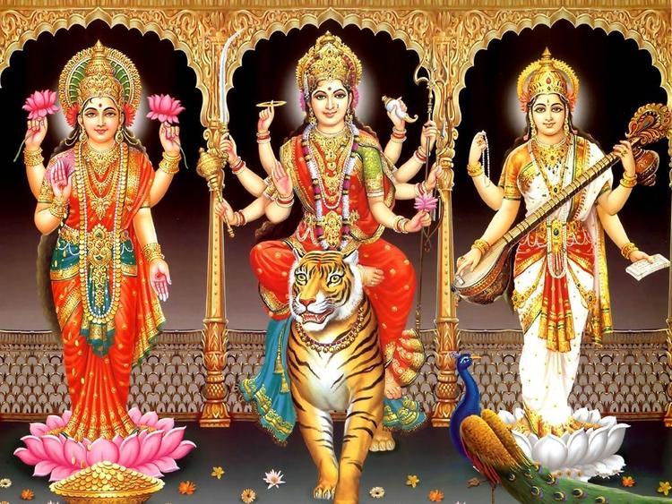 Goddess Lakshmi,Maa Durga And Devi Saraswati Blessing Wallpaper