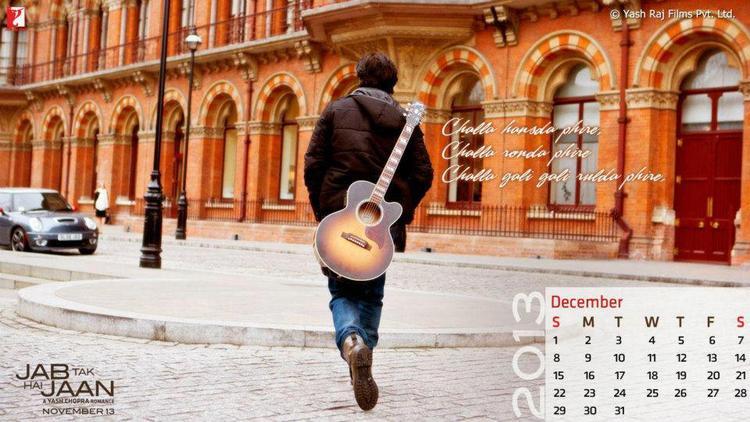 Shahrukh Back Pose Still With Guitar In Jab Tak Hai Jaan Calendar ...