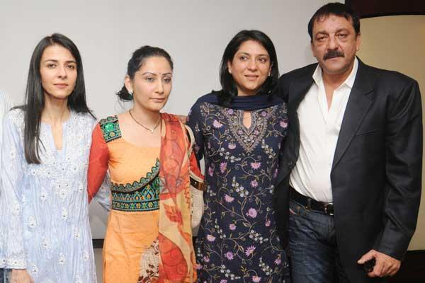 Sanjay With Wife Manyata And Sisters Priya And Namrata ...