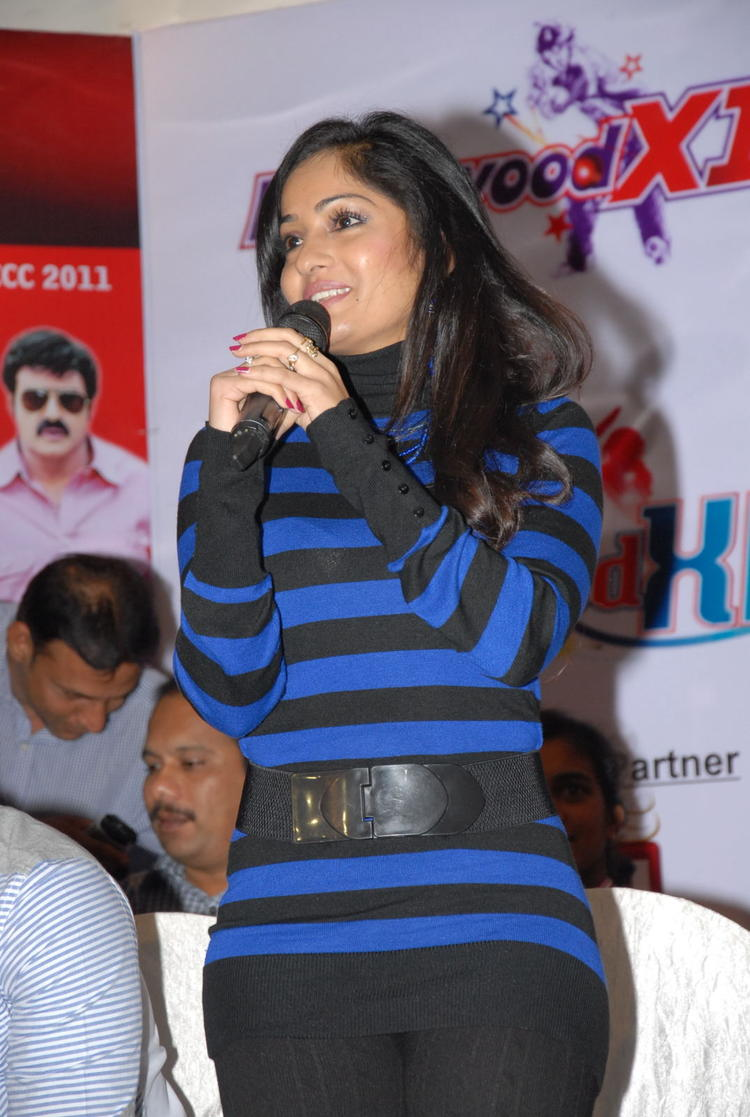 Madhavi Speak Out Photo At Crescent Cricket Cup 2012 Press Meet