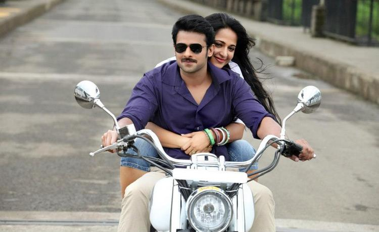 Prabhas And Anushka Hug Scene Photo In Bike From Upcoming Telugu Movie Mirchi