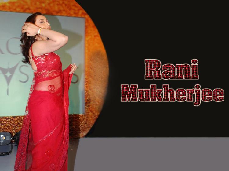 Rani Mukherjee Wallpaper In Red Transparent Saree