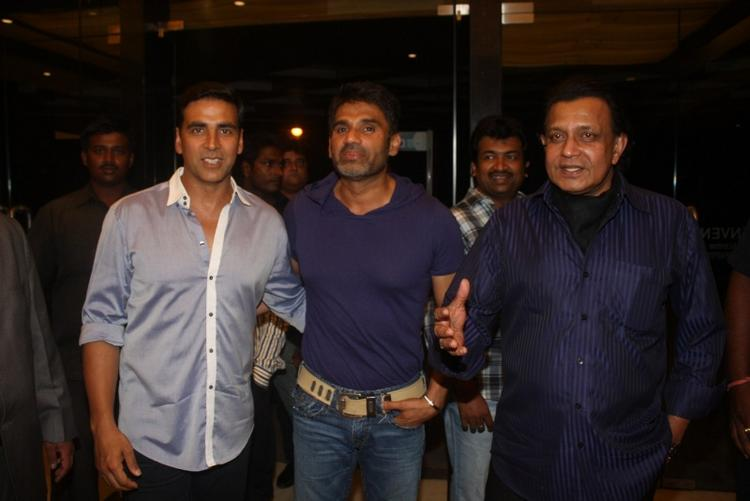 Mithun,Akshay and Sunil Shetty at Hotel Novotel in Juhu ...