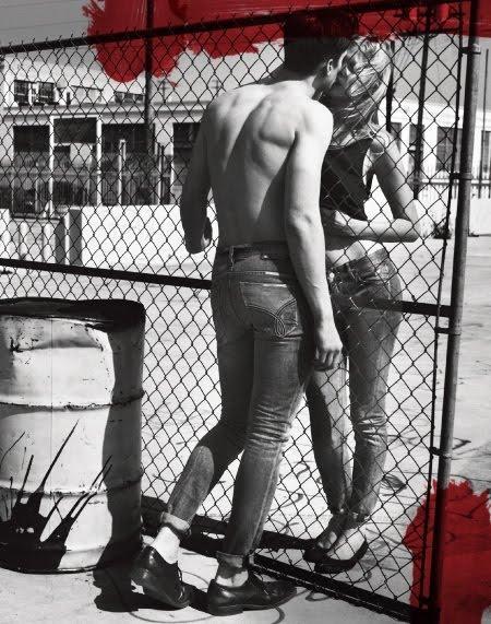 lara stone calvin klein jeans ad hot kiss pictures lara