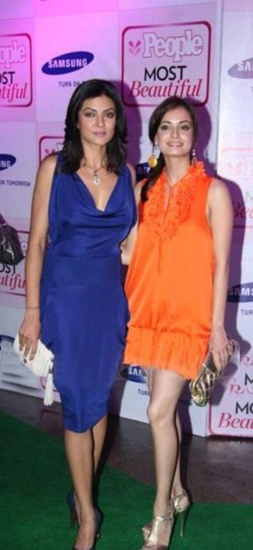 Sushmita And Diya Mirza Glamour Look At People Magazine Bash