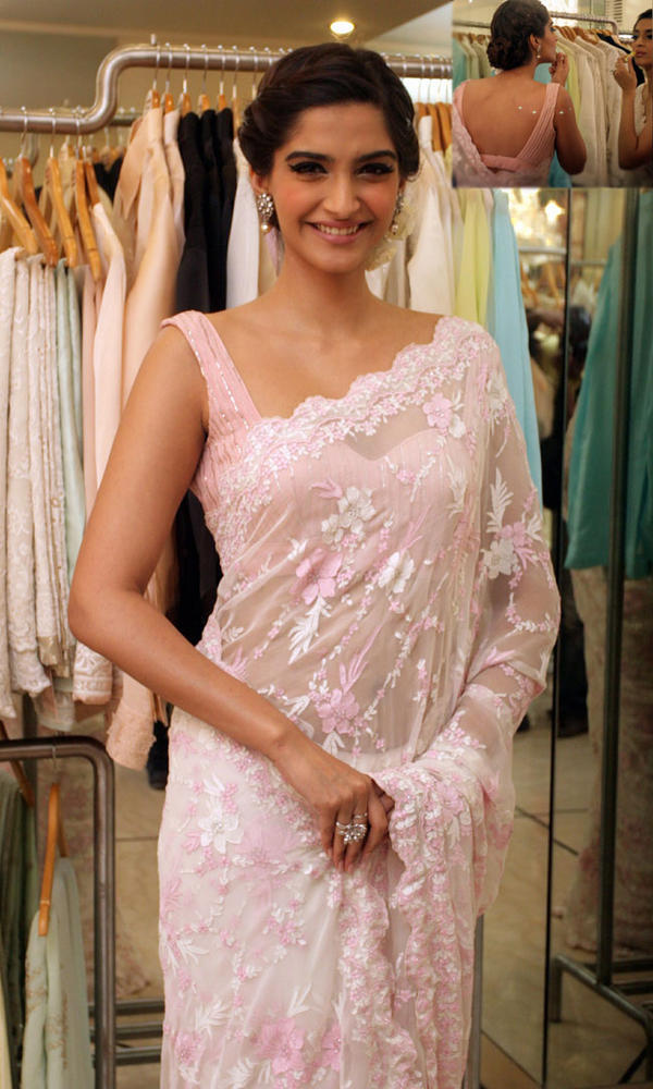 Sonam In Pink Transparent Saree at Designer Shehla Khan's Flagship Store