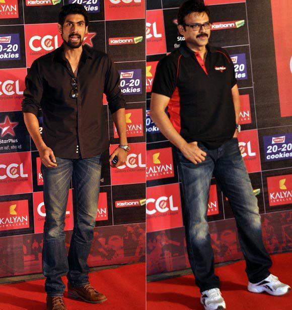 Rana And Venkatesh Snapped At Celebrity Cricket League Curtain Raiser 2013