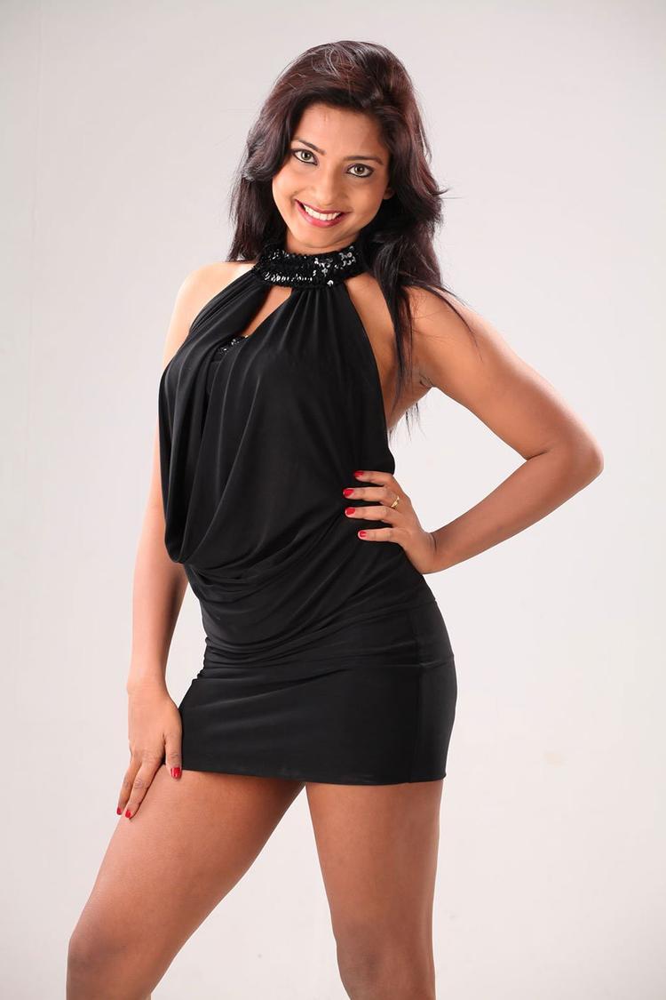 Kamna Charming Look Sexy Photo Still In A Black Mini Dress, South