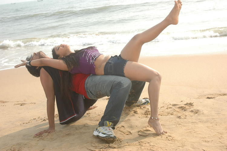 Rajesh And Amruthavalli Song Still On Beach From Telugu Movie Co Co