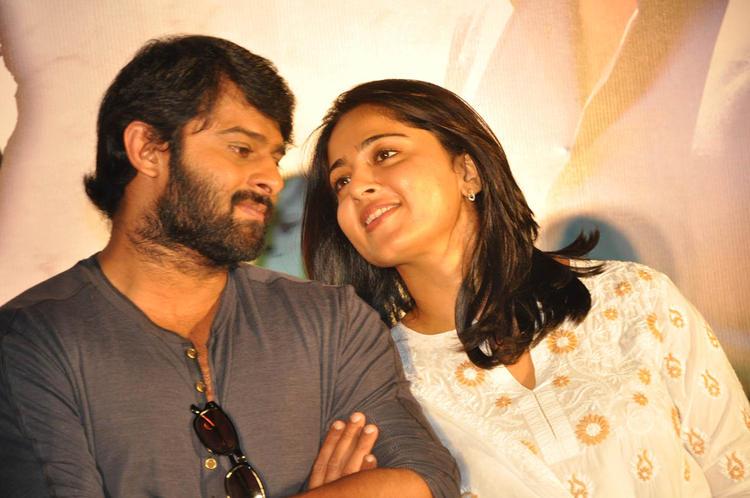 Prabhas And Anushka Chatting Still At Mirchi Movie Success Meet Event