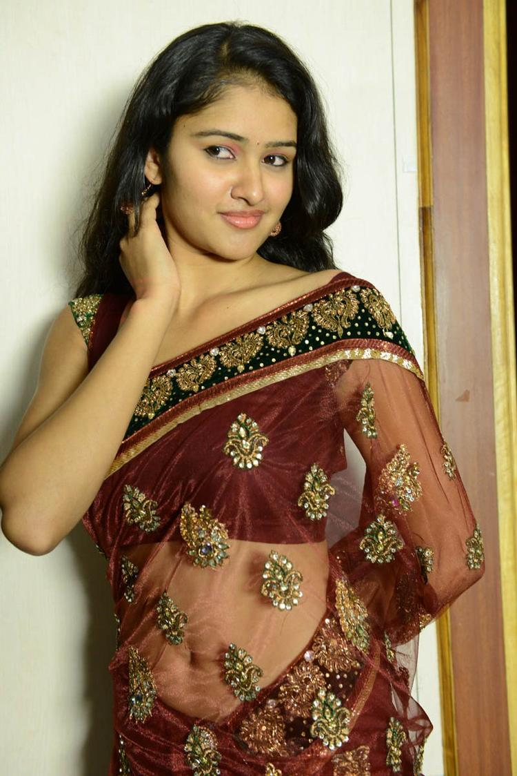 Koushalya Sexy Look Photo Still In A Brown Color Saree