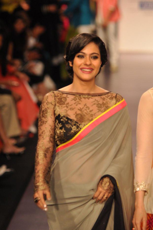 Kajol Devgan Glamour Look On Ramp At Lakme Fashion Week 2013