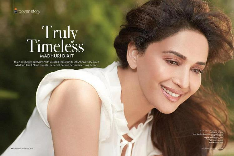 Madhuri Sexy Smiling Photo On The Cover Of Asia Spa Magazine India April 2013