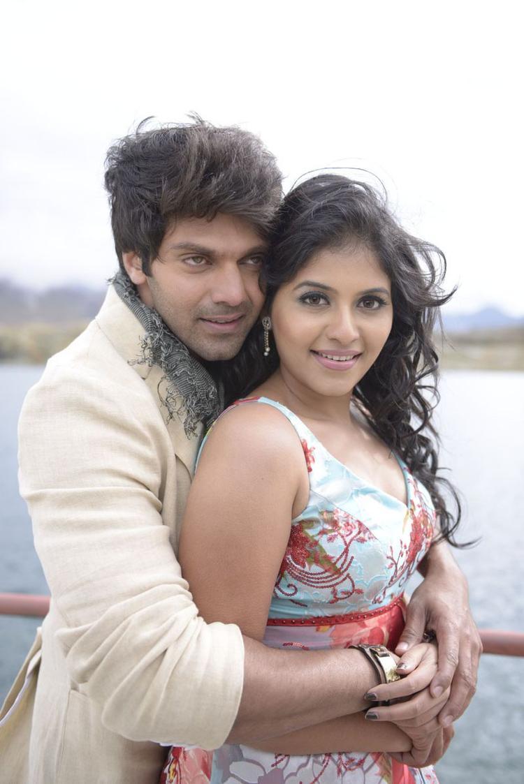 Arya And Anjali Back Hug Photo Still From Movie Naughty Boys Telugu