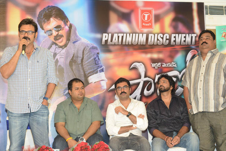Venkatesh Speaking Still S. Thaman And Gopi Look On At Shadow Platinum Disc Function
