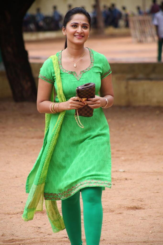 anushka shetty in green chudidar glamour trendy look still
