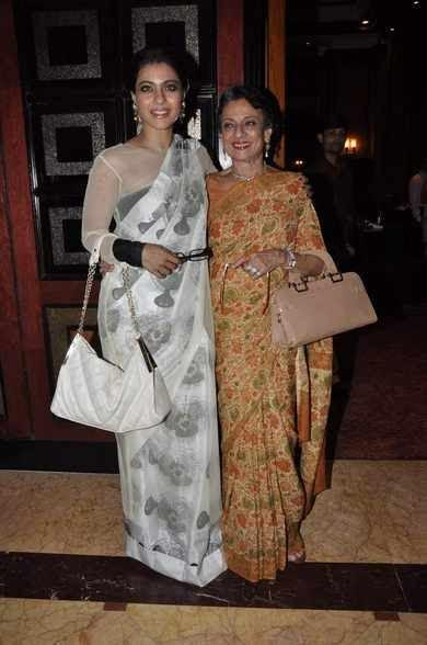 Kajol With Mother Tanuja Smiling Pose During The Premiere Of Tanisha Mukherjee's Debut Play The Verdict