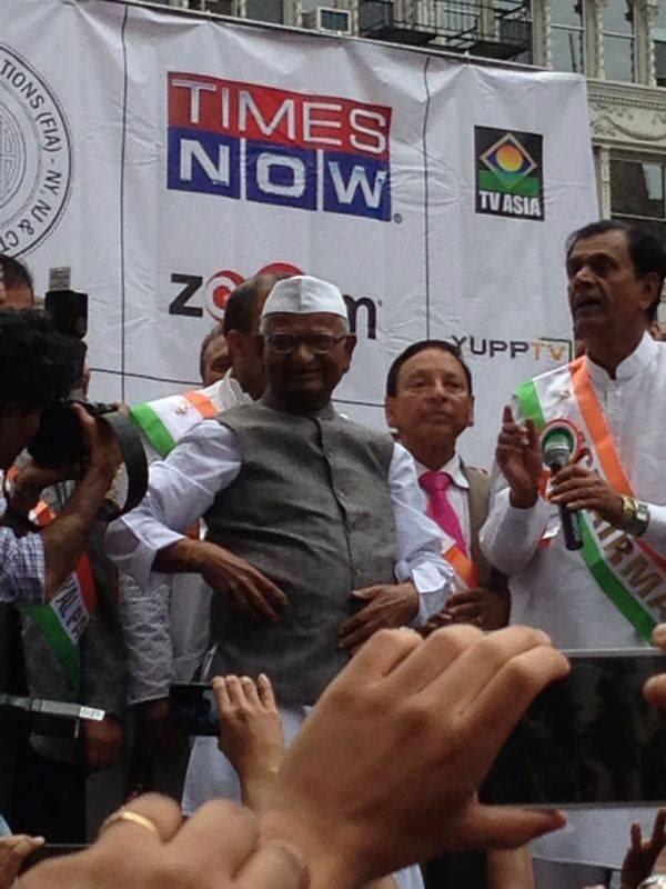 Anna Hazare At New York For India Day Parade