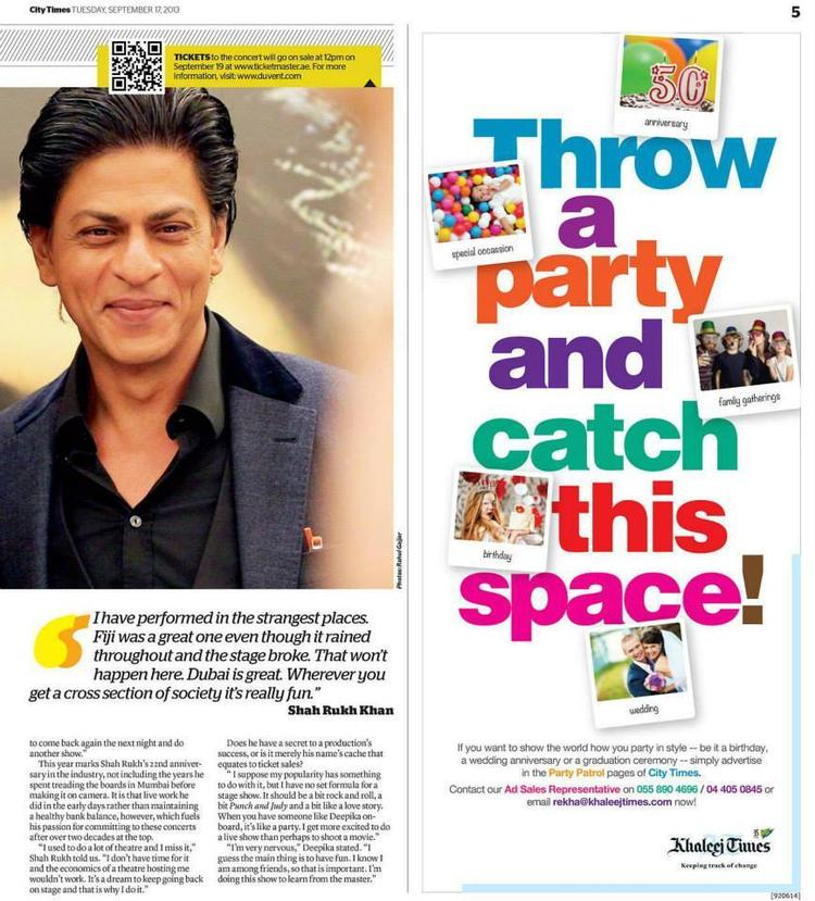 SRK Cute Smiling Look Photo Shoot For Khaleej Times September 2013