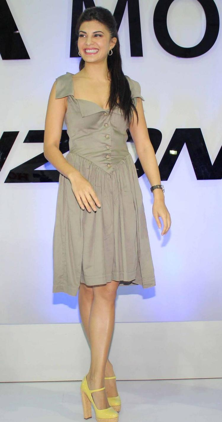 Jacqueline Fernandez Was Seen At The Tata Nano Booth At An Auto Car ...