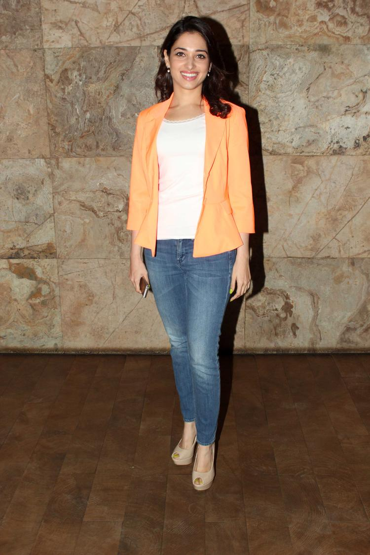 Tamanna Bhatia Spotted At Bullet Raja Movie Special Screening