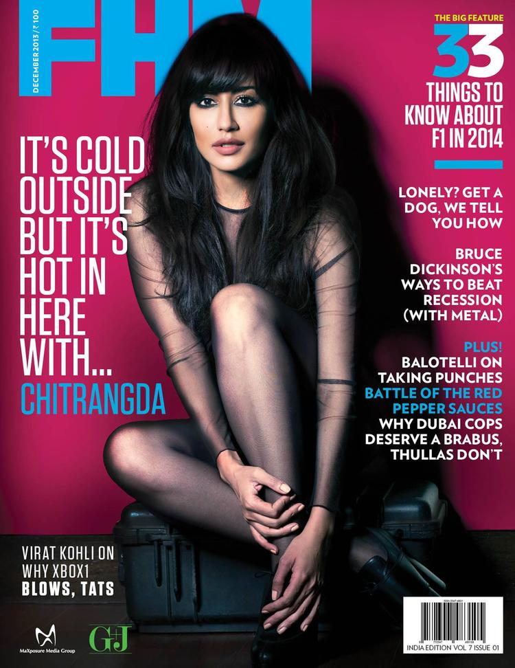 Chitrangada In Black Net Dress Sexy Hot Look On The Cover Of FHM India December 2013 Issue