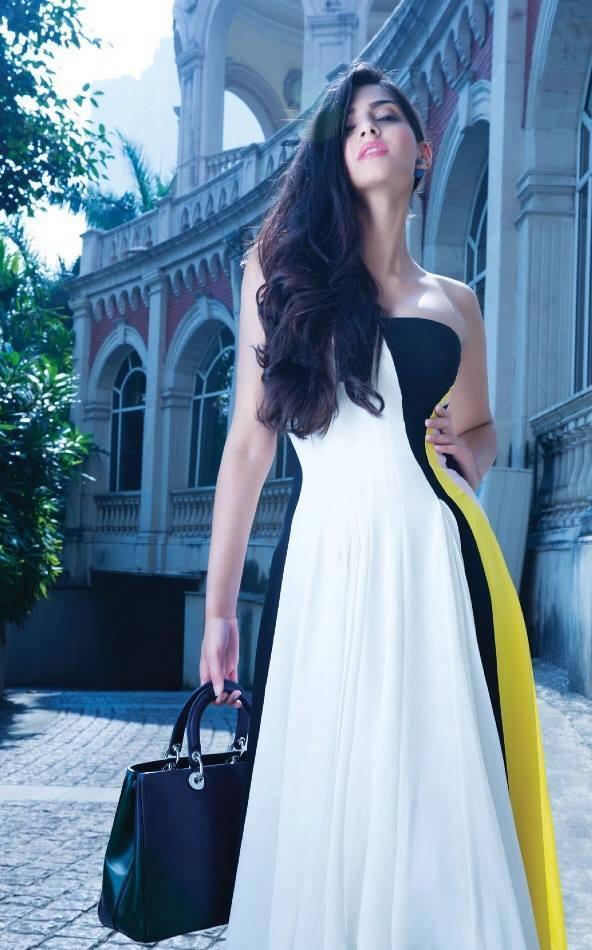 sonam kapoor gown trendy look photo shoot hi blitz december 2013 issue - Sonam Kapoor latest Shoot