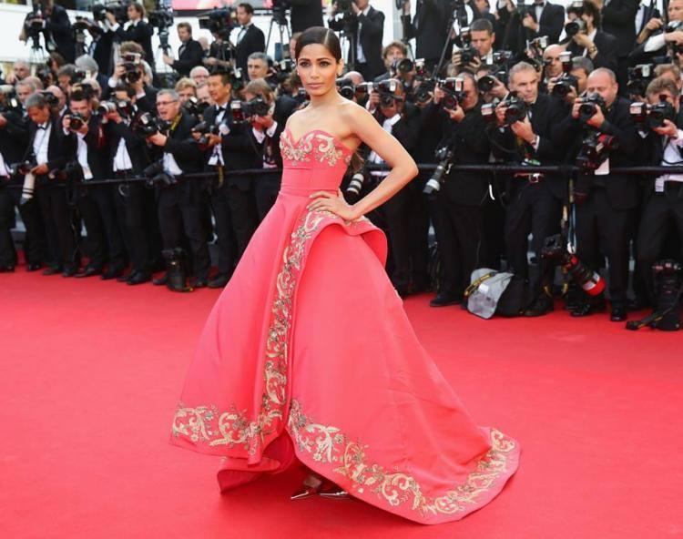 Freida Pinto Attends 'The Homesman' Premiere At The 67th Annual Cannes Film Festival